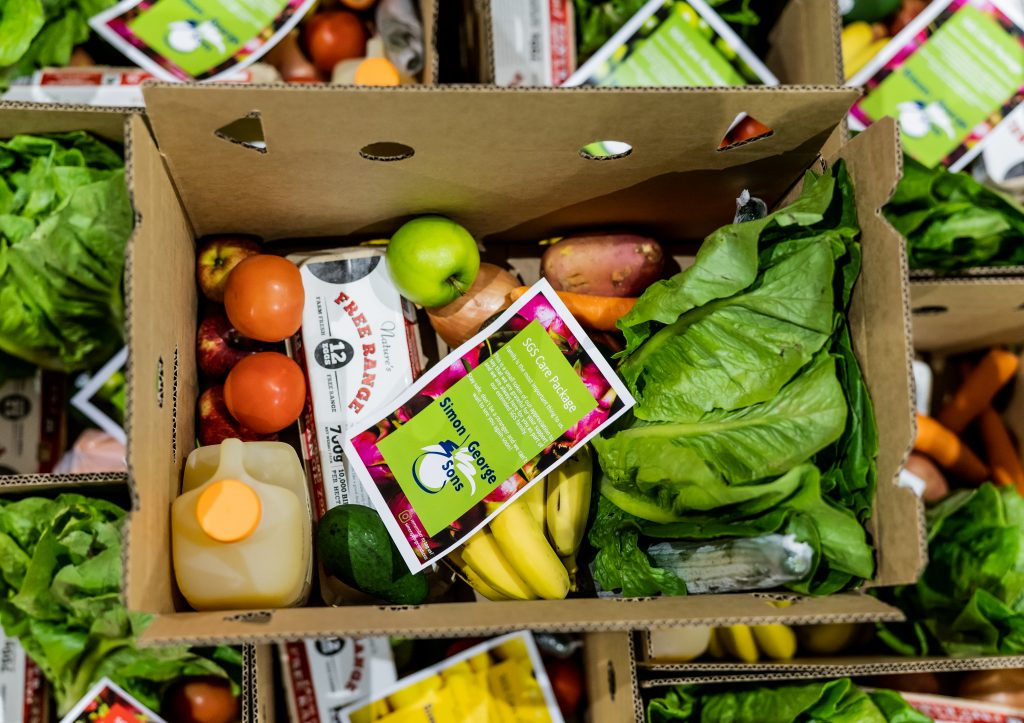 A box of fresh food from Simon George & Sons
