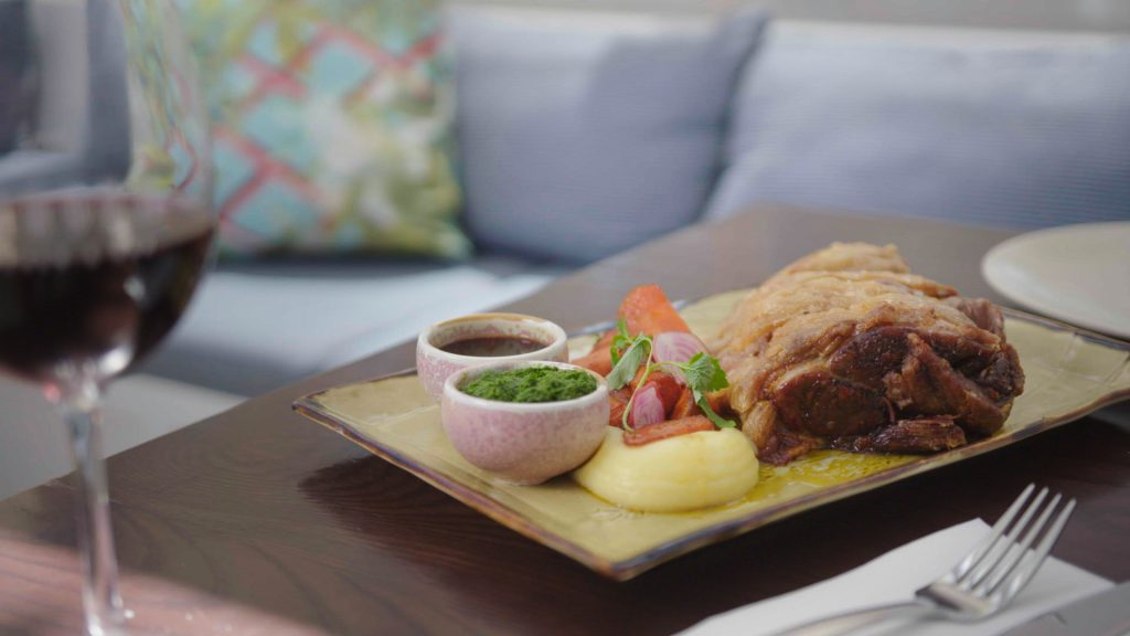Slow cooked lamb shoulder with sides
