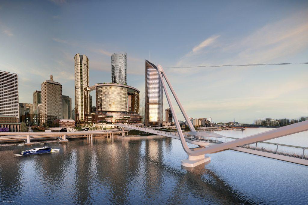 Renders of the Neville Bonner Bridge to Queen's Wharf Brisbane