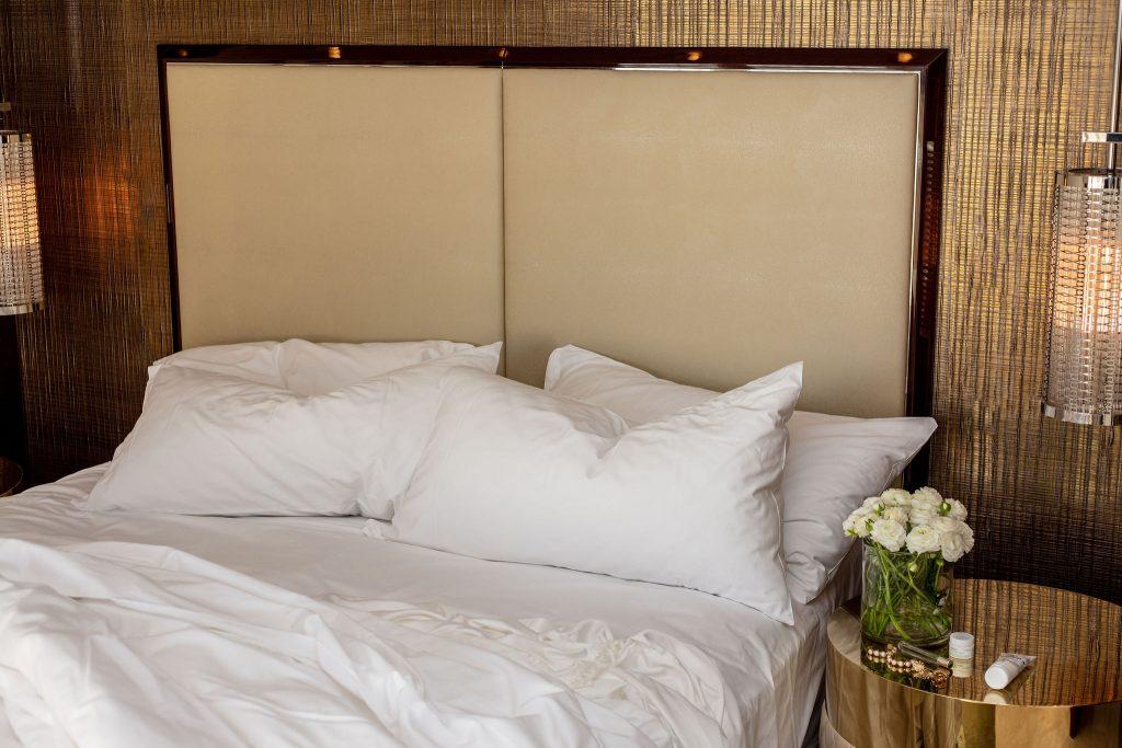 Crisp white bed linen
