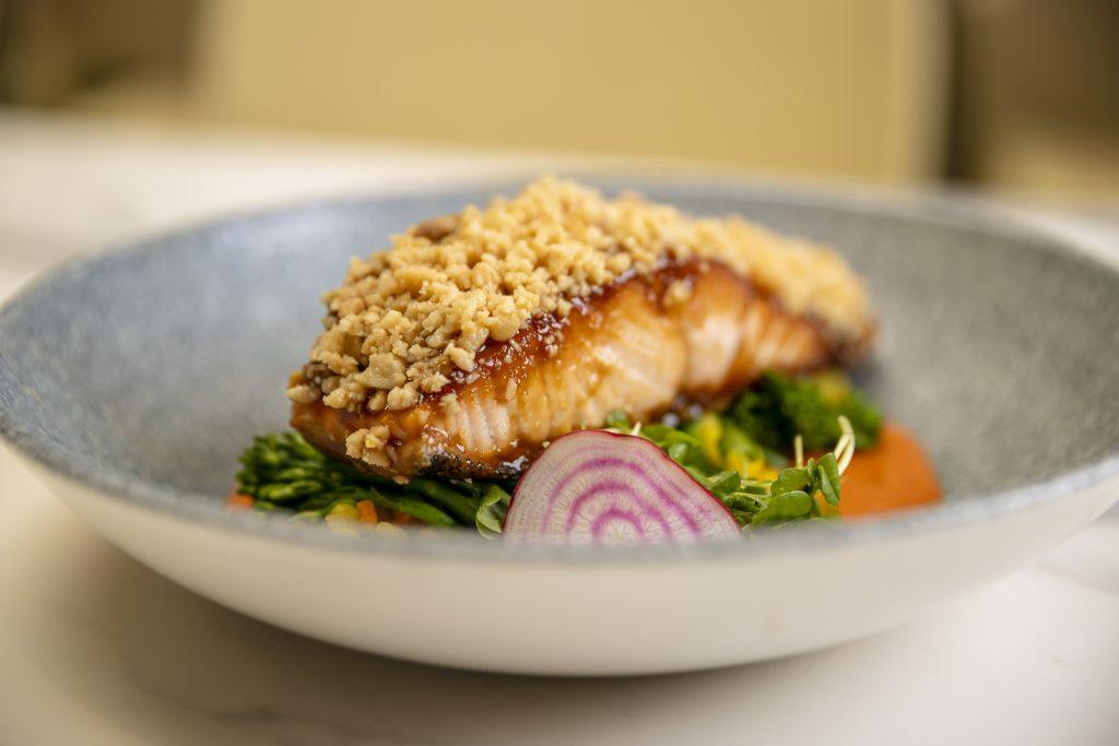 Macadamia crusted salmon at Garden Kitchen & Bar restaurant