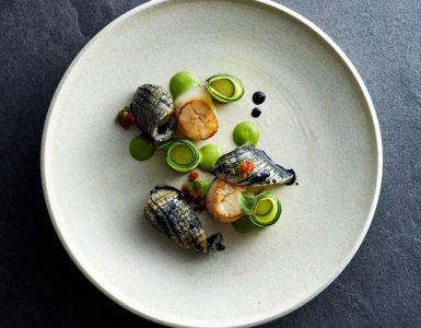Sokyo - Pan Seared Scallops with Cuttlefish and Japanese Salsa Verde
